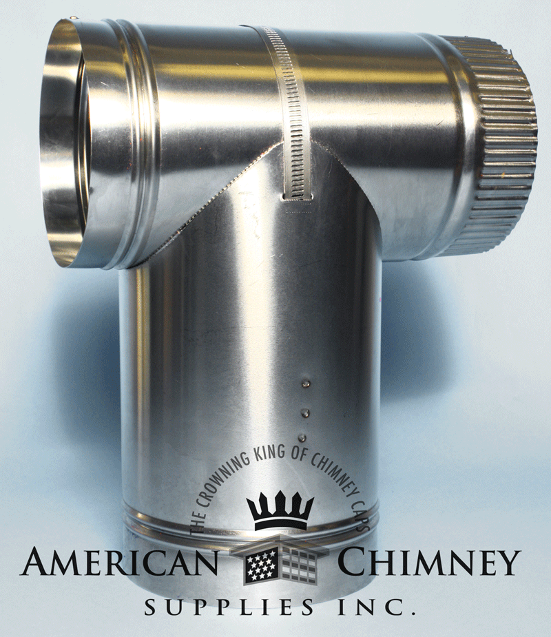 Stainless Steel 2 Part Tee With Tee Cap American Chimney